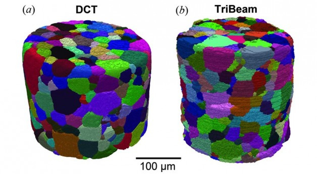 Quantitative voxel-to-voxel comparison of TriBeam and DCT strontium titanate three-dimensional data sets